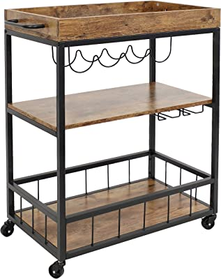 Sunnydaze Industrial Rolling Bar Cart for The Home - 3-Tier Beverage Trolley Kitchen Bar Cart with Wine Rack and Glass Rack on Wheels - 35-Inch