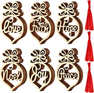 Best SATINIOR Christmas Wooden Ornaments Xmas Tree Hanging Tags Pendant Hollow Out Ornaments for Christmas Decorations, 6 Styles (36) Review
