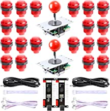 Hikig New Updated Version 2-Player LED Arcade DIY Kit - 2X Zero Delay LED USB Encoder + 2X Arcade Joystick + 20x LED Arcade Buttons for MAME, PC, Windows, Raspberry Pi, Arcade1Up (All Red Kit)