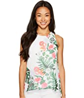 Vince Camuto Specialty Size - Petite Sleeveless Havana Tropical High-Low Hem Blouse
