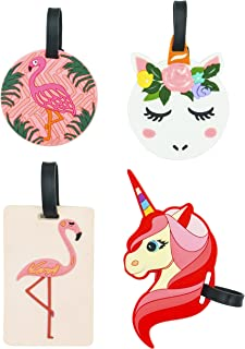 Travel Luggage Tags Flamingo Unicorn Gift for Women Girl Travel ID Labels Tag Name Card Holders for Suitcase