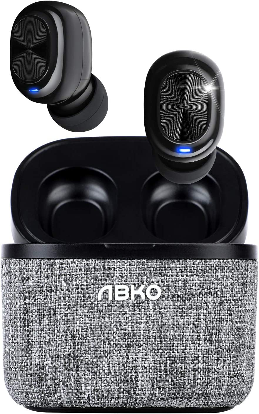 ABKO True Wireless Earbuds with Fabric Cradle Ultra Lightweight Compact Auto Pairing Bluetooth in-Ear Headphones USB-C Charging IPX4 Waterproof CWS120 Black