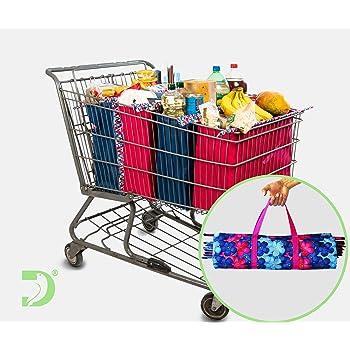 Bolsas Ecológicas Carrito Supermercado, Las más resistentes!! (Flores Azules)