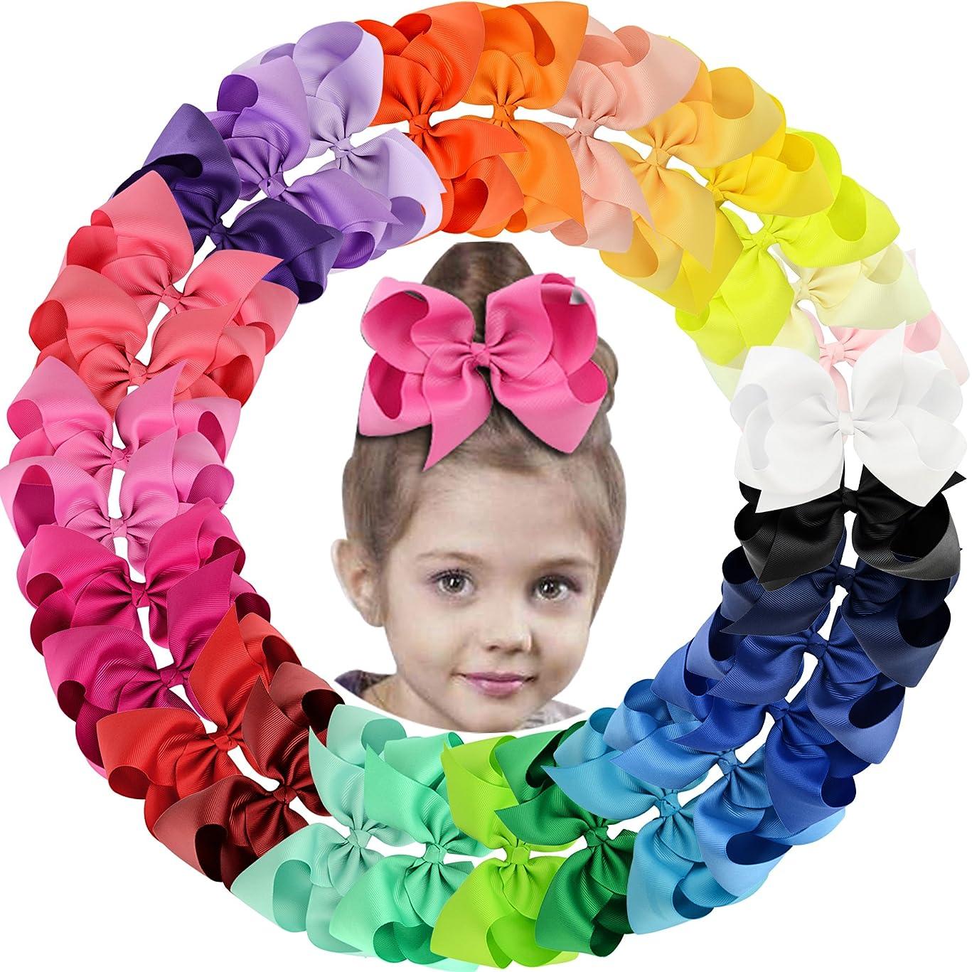 30Pack 6in Grosgrain Ribbon Hair Bows Baby Girl's Clips Large Big Hair Bows Clips For Baby Girls Teens Toddlers