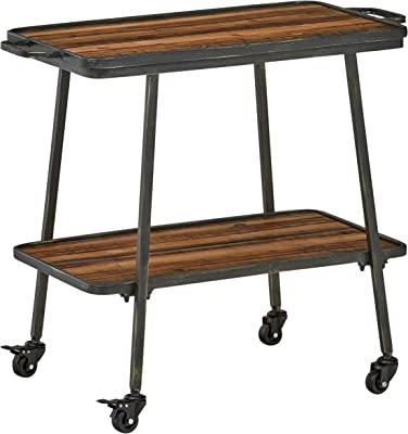 """Amazon Brand – Rivet 2-Tiered Industrial Kitchen Rolling Bar Cart with Wheels, 32.3""""W, Natural, Black"""