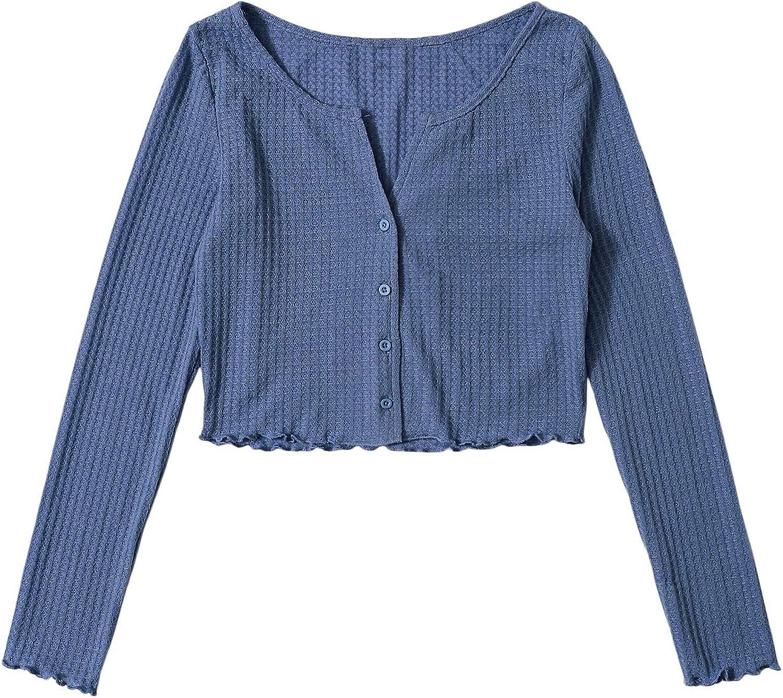 DIDK Women's Long Sleeve Crop Tops Waffle Knit Button Up Cardigan Shirts