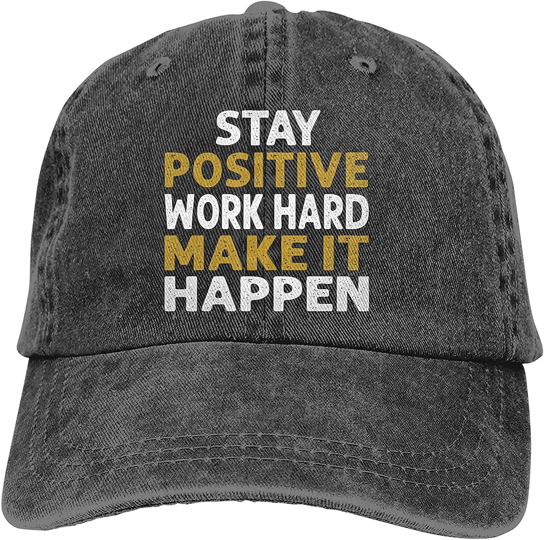 BGWORZD Stay Positive Work Hard Make It Happen Adjustable Washed Dad Hat Cowboy Cap Denim Cap Baseball Cap