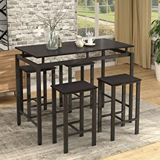 5 Piece Dining Table Set Modern Style Wooden Kitchen...