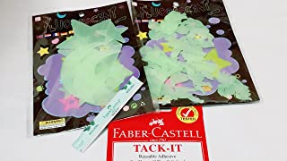 AnTless Growth [Total 24 Pcs] 3D Glow in The Dark   Galaxy and Angel, 12 Count Per Pack, Wall Decor, Luminous, Free TACK IT Half Strip [Set of 2 Packs]   for Indoor & Outdoor