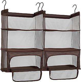 STORAGE MANIAC 2-Pack Luggage Suitcase Organizer, Portable Hanging Closet Shelves Organizer with Zipper