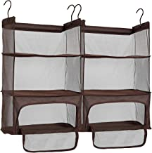 STORAGE MANIAC 2-Pack Luggage Suitcase Organizer, Portable Hanging Closet Shelves Organizer with Zipper