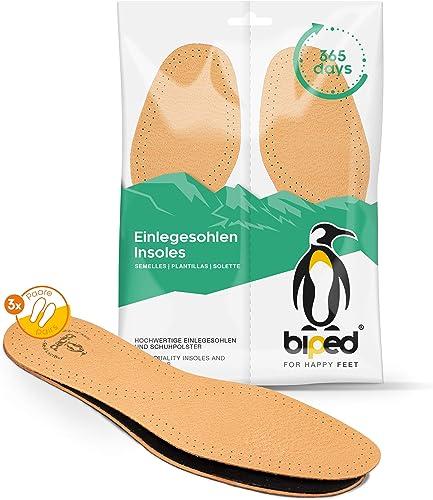 biped 3 paires de semelles intérieures en cuir avec charbon actif, semelles en cuir contre la transpiration des pieds...