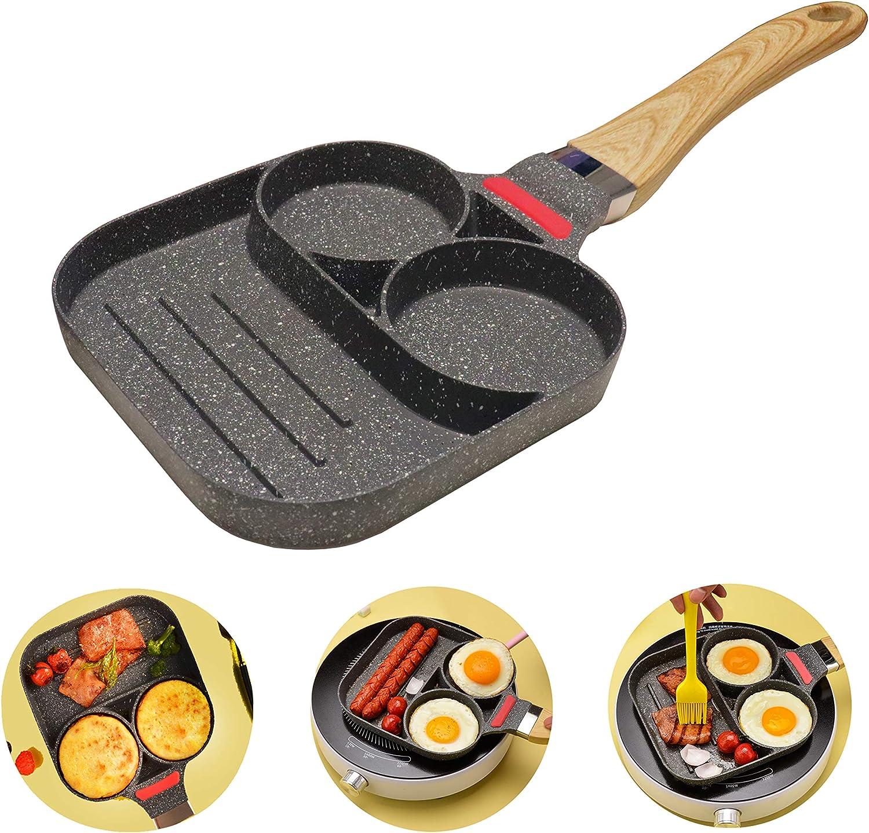 Sartén para huevos sartén antiadherente, 2 agujeros Sartén para panqueques, sartén para huevos para el desayuno, mango de madera(Universal)