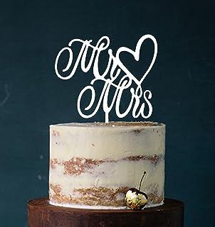 Cake Topper, Mr & Mrs, Tortenstecker, Tortefigur Acryl, Tortenständer Etagere Hochzeit Hochzeitstorte Kuchenaufstecker Weiß Art.Nr. 5074