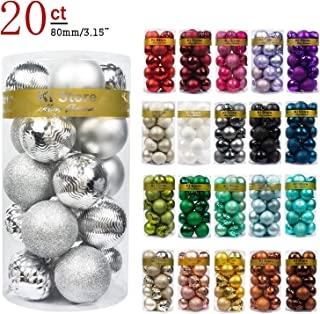 """KI Store 20ct Christmas Ball Ornaments Shatterproof Christmas Decorations Large Tree Balls for Holiday Wedding Party Decoration, Tree Ornaments Hooks Included 3.15"""" (80mm Silver)"""