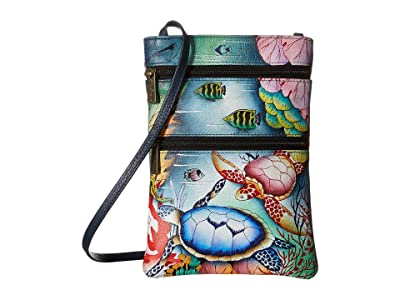 Anuschka Handbags Mini Double Zip Travel Crossbody 448 (Ocean Treasures) Cross Body Handbags
