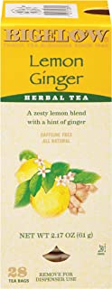 Bigelow Lemon Ginger Herbal Tea Bags 28-Count Box (Pack of 1) Lemon Ginger Tea Bags Herbal Tea All Natural Gluten Free