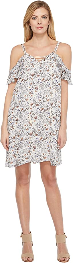 Brigitte Bailey - Justine Minifloral Print Flutter Sleeve Lace-Up Dress