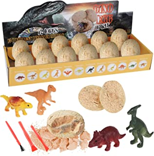 CSSTEL Dino Egg Dig Kit Discover 12 Unique Dinosaurs, Dino Eggs Excavation Set Dinosaur Egg Gift Archaeology and Paleontology Toy for Kids Age 6+ Boys Girls