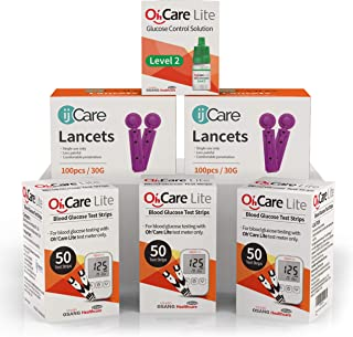 ijCare(150Strips) Bundle n Save Pack for Oh'Care Lite Blood Sugar Testing Monitor – Glucose Test Strips, Lancets, and Control Solution for for Blood Testing – Accurate and Affordable Diabetic Supplies