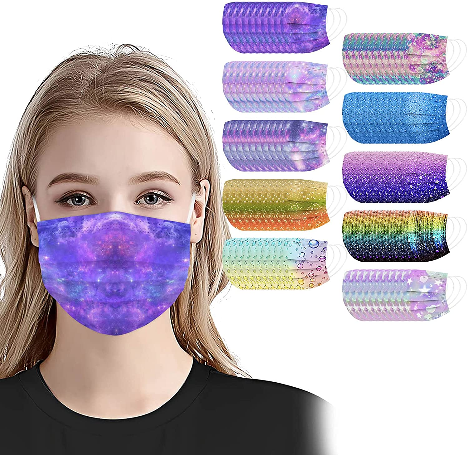 100 PCS Surprise price Adult Disposable Face Masks Wit Ply With Designs 3 Popular standard