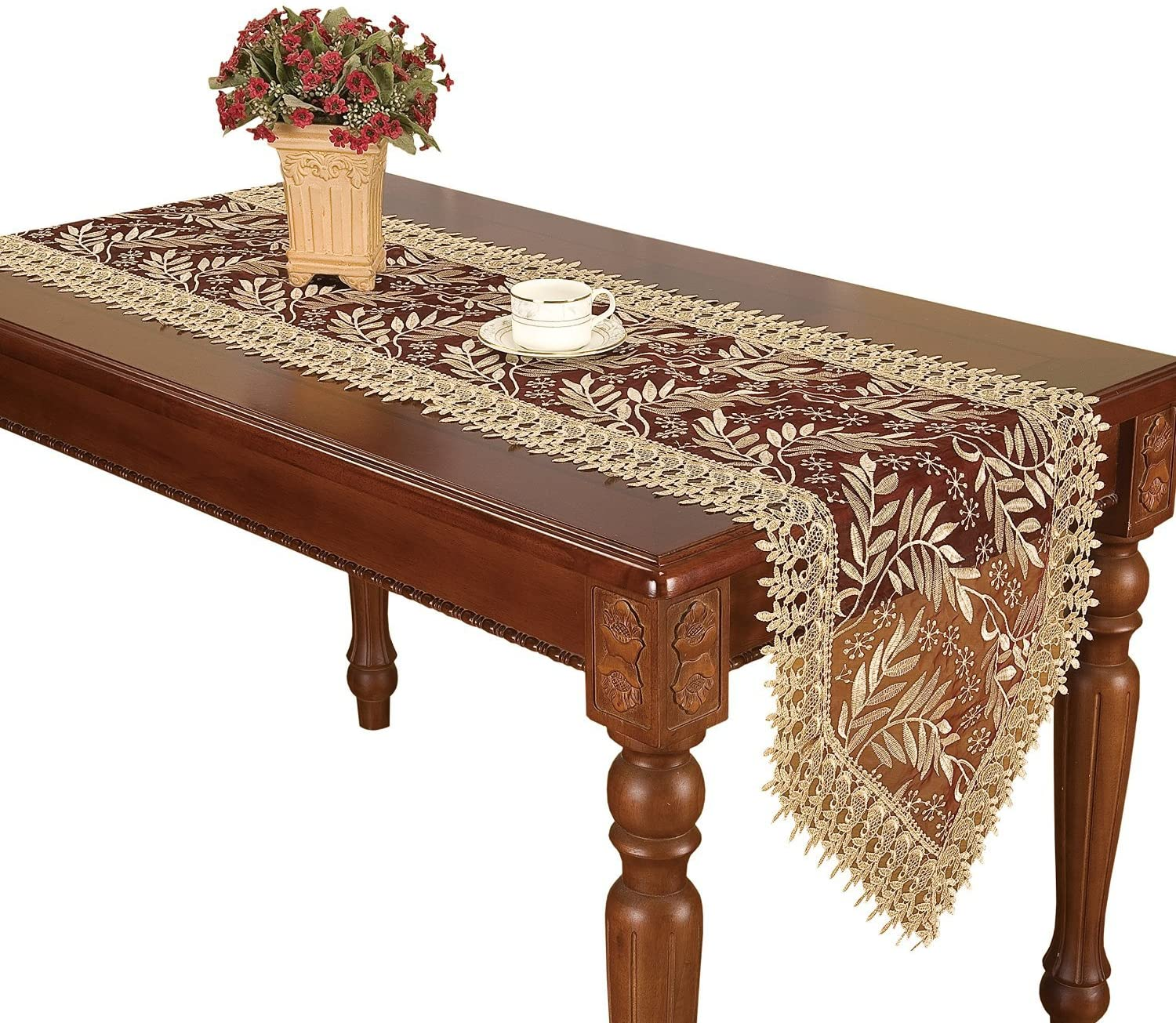 Simhomsen Large Ranking TOP15 Burgundy Lace Table Now free shipping Runner Long 120 Inch × 16