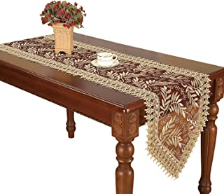 Simhomsen Extra Long Burgundy Lace Table Runner 16 × 132 Inch