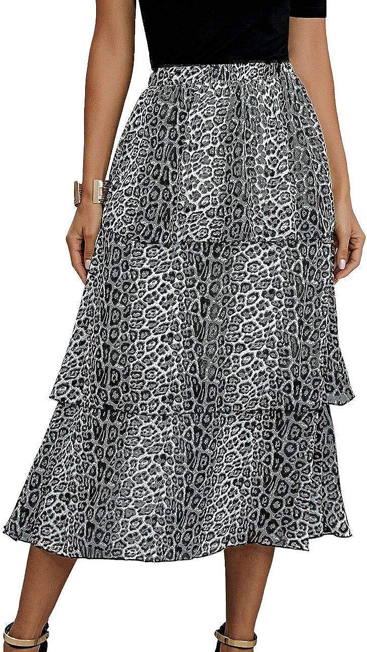 Hrsptudorc Fashion Women Summer Leopard Print Ruffle Skirt Vintage in Long Women's Casual High Waist Streetwear Skirt White L