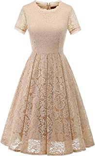 Beige Lace Dress with Sleeves