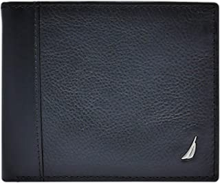 Men's Leather Passcase Wallet with Large Bill Compartment and ID Window