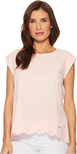 Short Sleeve Scallop Top