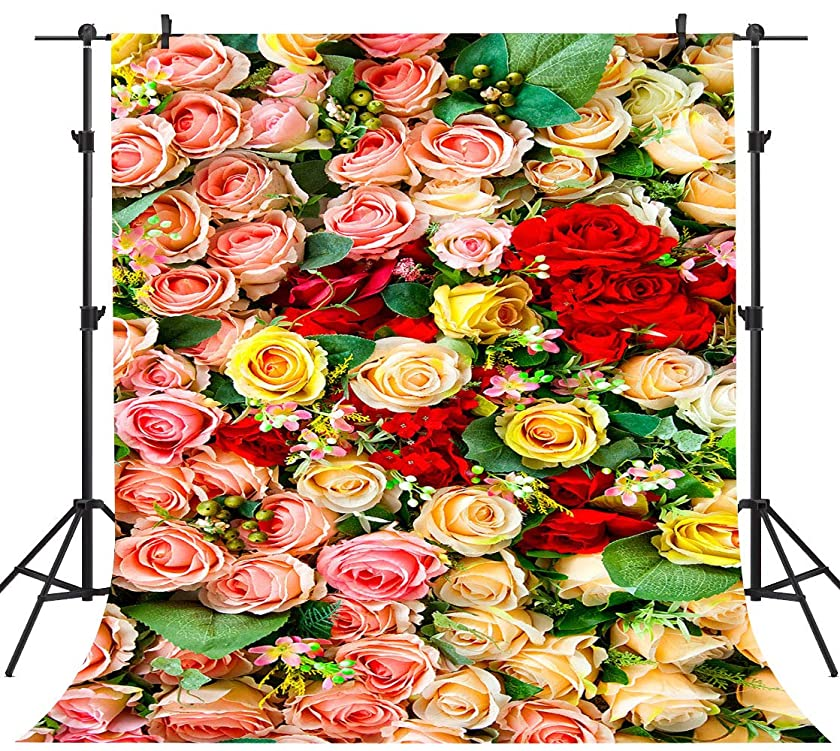 PHMOJEN Colorful Flowers Roses Floral Photography Backdrop Pink Gold Red Background for Wedding Lovers Theme Party Backdrop Vinyl 5x7ft Photo Booth Props WQPH578