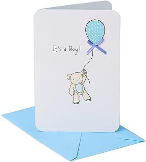 American Greetings New Baby Boy Card (Bear with Balloon)