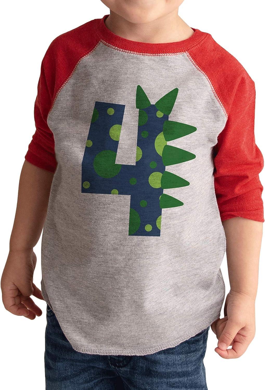4th Birthday Shirt for Boys Dinosaur Spikes 4 Year Old Boy Birthday Boy Dino Four T-Shirt Raglan Tee