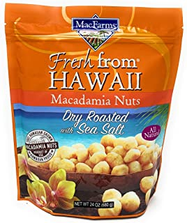 Macadamia Nuts | MacFarms Dry Roasted Macadamia Nuts (24 Ounce) - Premium Roasted Nuts with Sea Salt Fresh From Hawaii, Se...