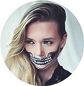 Tattoocrew® 4 x Halloween Tattoos Totenkopf Skull zum Aufkleben für das Gesicht