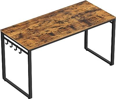 VASAGLE Bureau, Table, Poste de travail, avec 8 crochets, 140 x 60 x 75 cm, pour bureau, salon, chambre, assemblage simple, métal, style industriel, Marron Rustique et Noir LWD59X