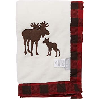 30 by 40 Inch Northwoods Bear Framed Coral Fleece Baby Receiving Blanket