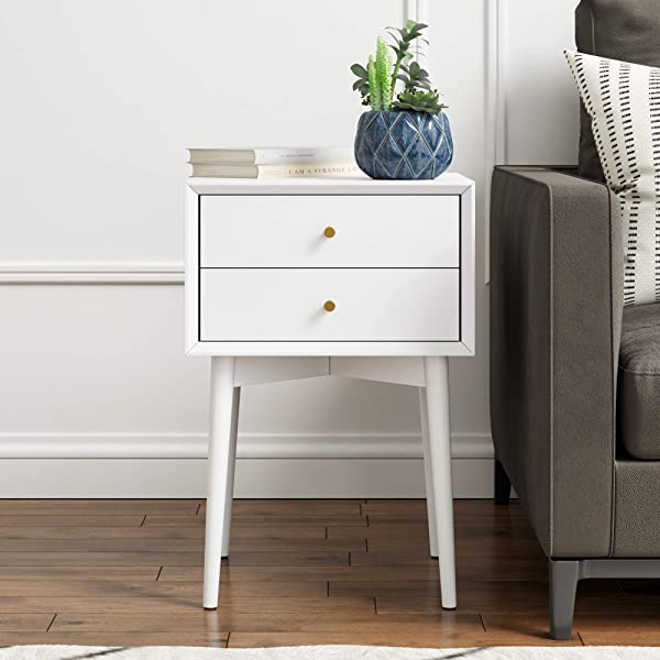 Nathan James 32701 Harper Mid Century Side Table 2 Drawer Wood Nightstand White