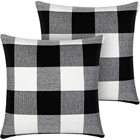 InnoGear Pillow Covers, 18 x 18 inch Set of 2 Black and White Buffalo Plaid Cotton Linen Pillow Cases for Farmhouse Home Decor Design Cushion Case Sofa Bedroom Car
