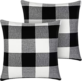 InnoGear Set of 2 Black and White Throw Pillow Cover, Classic Buffalo Check Cotton Linen..