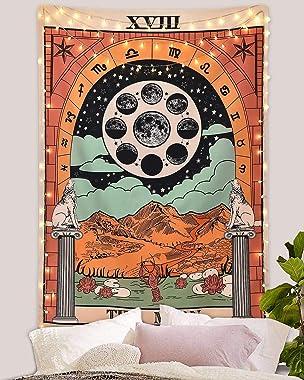 Amknn Tenture murale avec impression tarot La Lune, l'Étoile et le Soleil, tenture divinatoire style européen médiéval po
