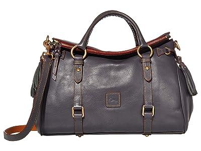 Dooney & Bourke Florentine Vacchetta Satchel (Slate/Self Trim) Satchel Handbags