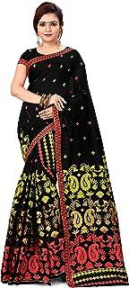 SKiran's Assamese Weaving Cotton Mekhela Chador Saree - Dn7045 Mekhla Sador (Gajri & Lemon)