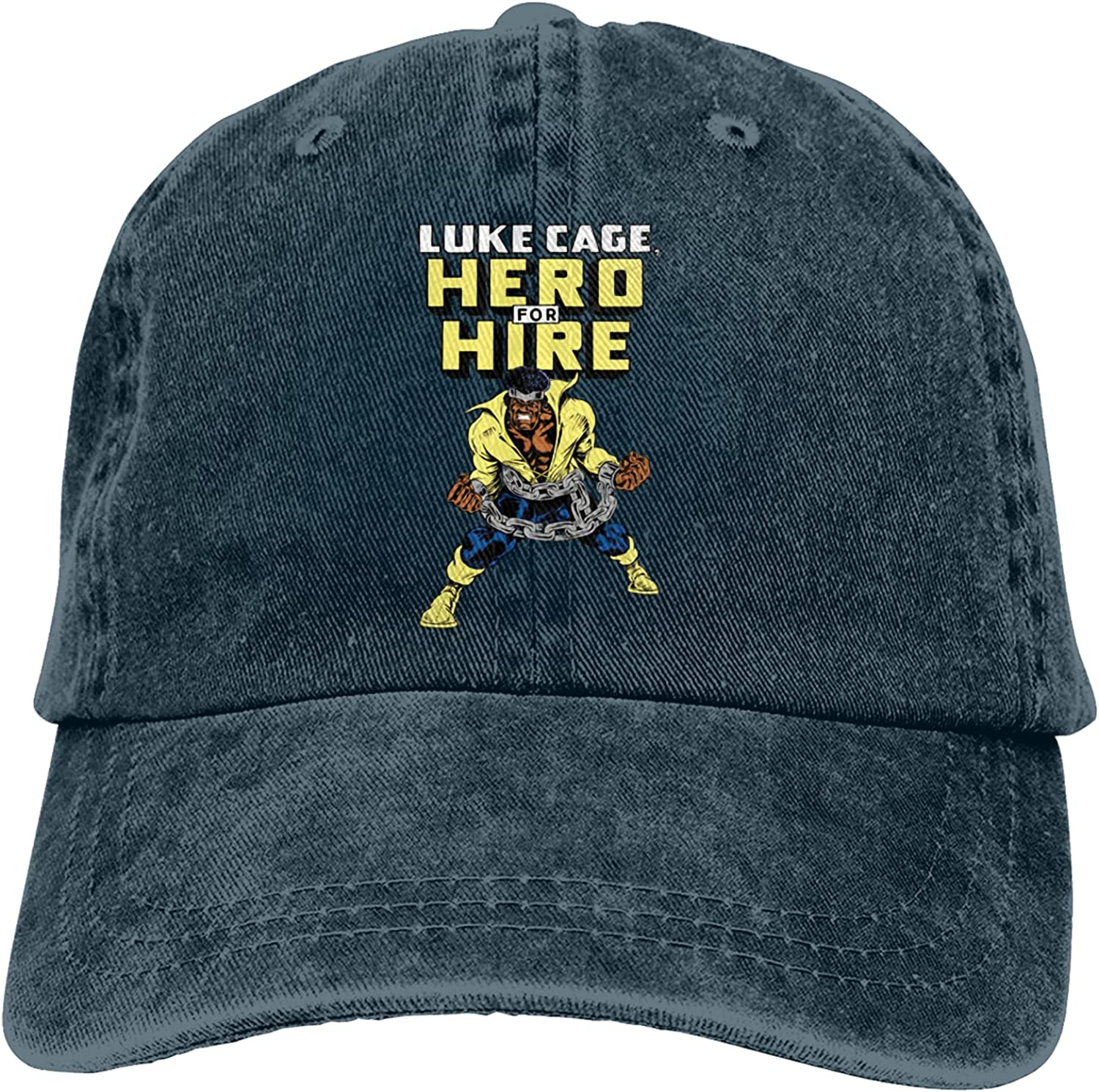 Dimmo Luke Cage Hero for Hire Cowboy Hat for Men and Women Adjustable Unisex Hat Fashion Drawstring Girl with Cute Graphics Navy