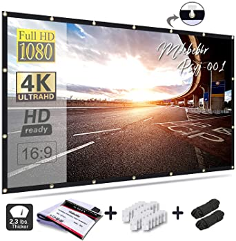 Mdbebbron 120 inch Projection Screen 16:9 HD Foldable Anti-Crease Portable Projector Movies Screen for Home Theater O...