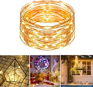 LED Fairy String Lights, TechRise 33 Feet 100 LEDs USB Powered Warm White Copper Wire String Lights Indoor Outdoor Decoration Lights for Gardens, Home, Dancing, Party, Christmas, Wedding, Festival