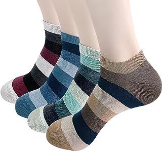 Calcetines de algodón de corte bajo para hombre, paquete de 4 a 6, coloridos y de lujo, con diseño de rayas