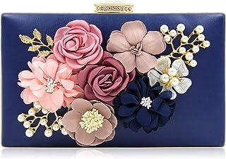 Milisente Damen Clutch Tasche Blumen Abendtasche Hochzeit Bag Elegante Handtasche Abendtasche Marineblau (Blau/Blaue Clutch)