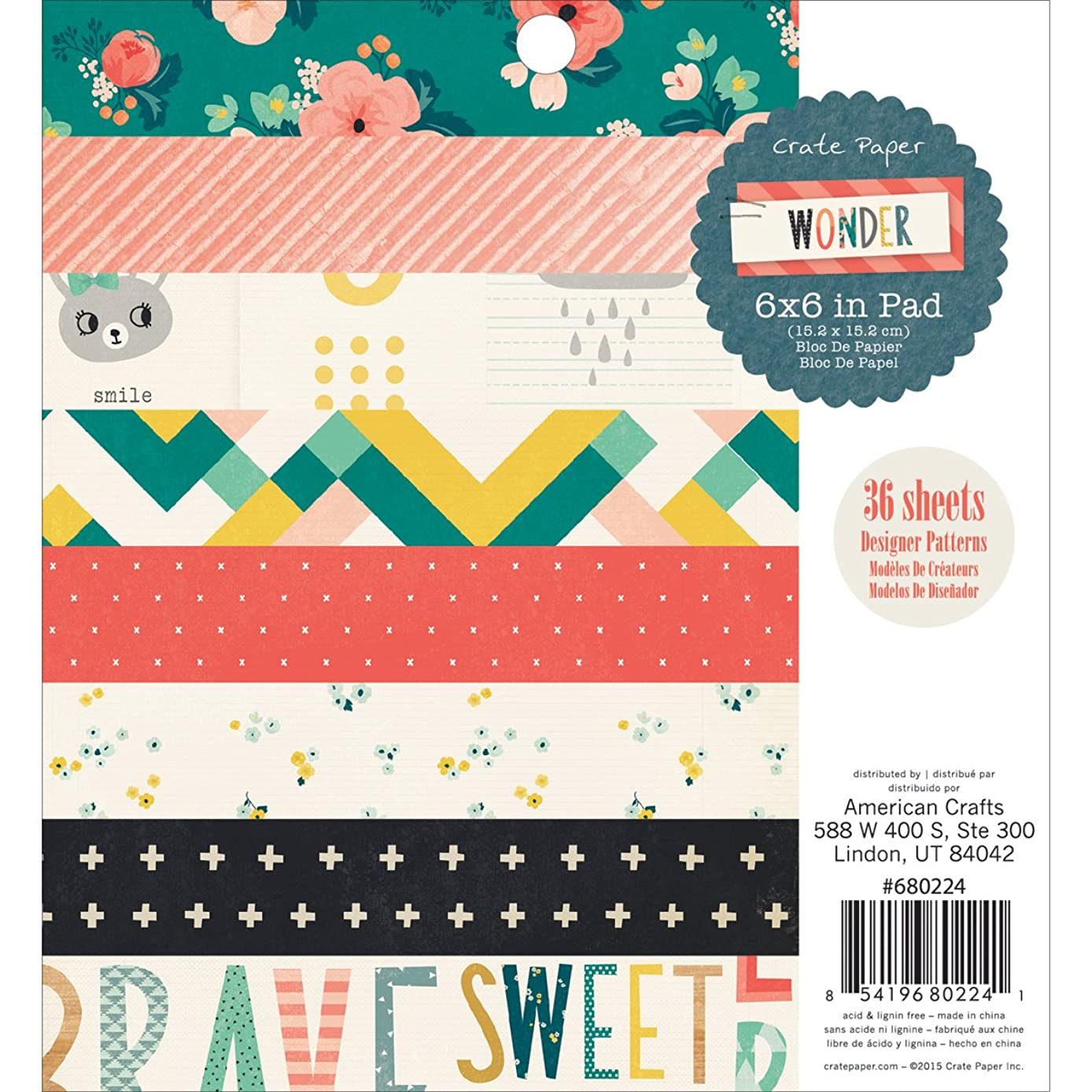 American Crafts 36 Sheet Crate Wonder Paper Pad, 6 by 6